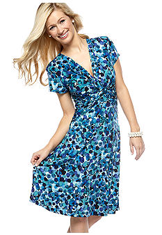 Connected Apparel Petite Ditsy Print Dress