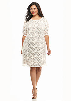Connected Apparel Plus Size Allover Lace Shift Dress