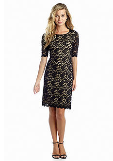 Connected Apparel Allover Lace Shift Dress