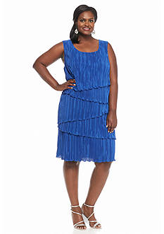 Connected Apparel Plus Size Crinkle Knit Tiered Shift Dress