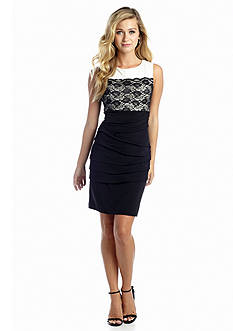 Connected Apparel Sleeveless Sheath with Lace