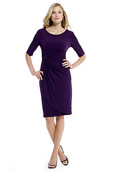 Connected Apparel Matte Jersey Ruched Dress