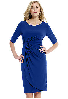 Connected Apparel Petite Matte Jersey Ruched Dress