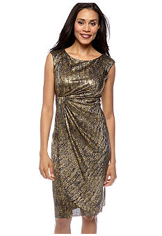 Connected Apparel Sleeveless Metallic Dress