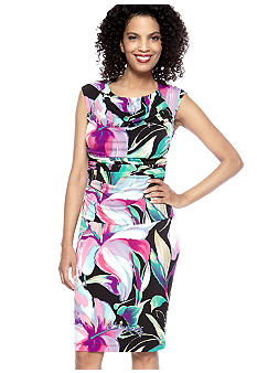 Connected Apparel Plus Size Floral Ruched Dress