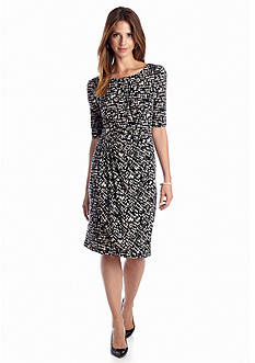 Connected Apparel Elbow-Sleeve Printed Fit and Flare Dress