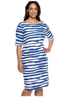 Connected Apparel Plus Size Elbow Sleeved Stripe Shift Dress