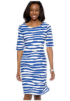 Connected Apparel Petite Elbow Sleeved Stripe Shift Dress