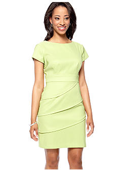 Connected Apparel Petite Short-Sleeved Tiered Skirt Sheath Dress