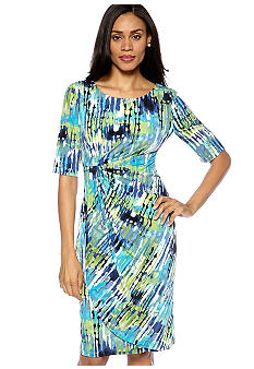 Connected Apparel Petite Printed Matte Jersey Dress