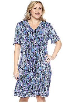 Connected Apparel Plus Size Short-Sleeved Pleated Tiered Dress