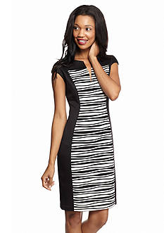 Connected Apparel Pucker Front Panel Sheath Dress