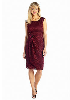 Connected Apparel Allover Lace Faux Wrap Dress