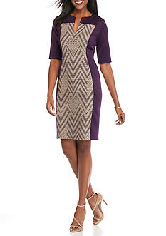 Connected Apparel Printed Panel Inset Sheath Dress