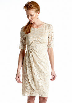 Connected Apparel Elbow Sleeved Allover Lace Sheath Dress