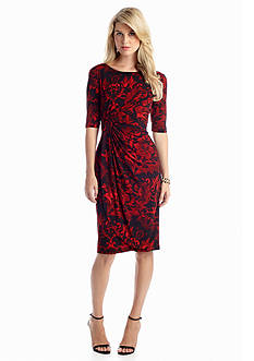Connected Apparel Elbow-Sleeve Printed Faux Wrap Dress