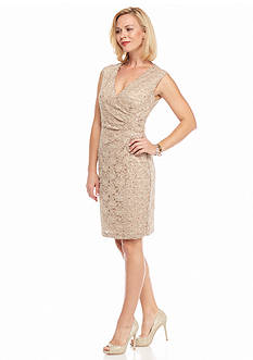 Connected Apparel Sequin Lace Sheath Dress