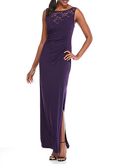 Connected Apparel Lace and Sequin Yoke Jersey Gown