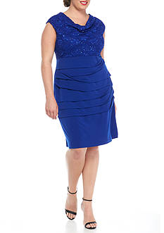 Connected Apparel Plus Size Lace with Sequin Bodice Sheath Dress