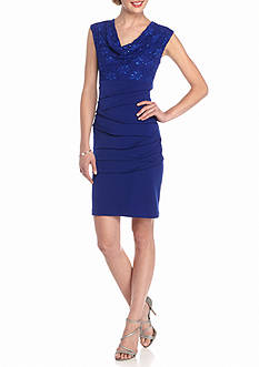 Connected Apparel Lace with Sequin Bodice Sheath Dress