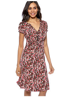 Connected Apparel Petite Ruched Neck Dress