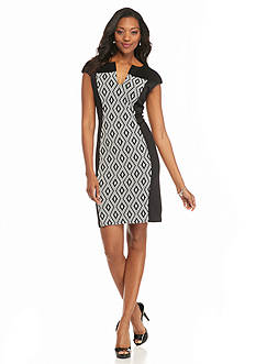 Connected Apparel Textured Knit Sheath Dress