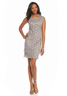 Connected Apparel Lace and Sequin Tiered Sheath Dress