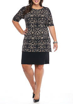 Connected Apparel Plus Size Printed Tunic Overlay Shift Dress