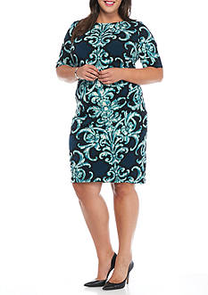 Connected Apparel Plus Size Printed Sheath Dress