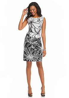 Connected Apparel Floral Print Sheath Dress