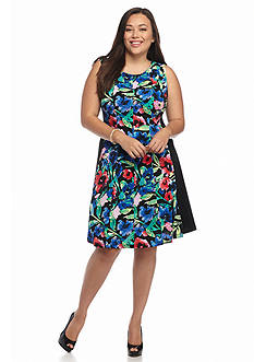 Connected Apparel Plus Size Floral Printed Fit and Flare Dress
