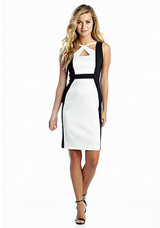 Connected Apparel Color-block Sheath Dress