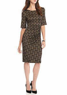 Connected Apparel Printed Sheath Dress