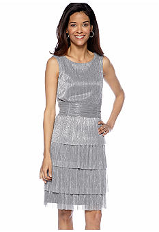 Connected Apparel Sleeveless Metallic Pleated Tiered Cocktail Dress