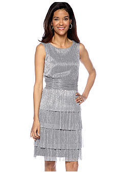 Connected Apparel Petite Sleeveless Metallic Pleated Tiered Cocktail Dress
