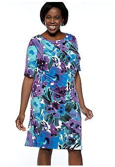 Connected Apparel Plus Size Elbow-Sleeved Printed Sheath Dress