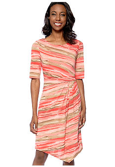 Connected Apparel Elbow Sleeve Stripe Dress