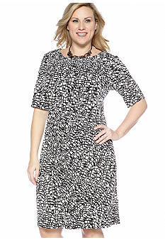 Connected Apparel Plus Size Elbow-Sleeved Matte Jersey Dress