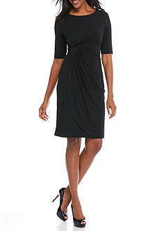 Connected Apparel Elbow-Sleeve Faux Wrap Dress