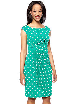 Connected Apparel Petite Sleeveless Polka Dot Drape Dress