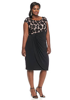 Connected Apparel Plus Size Lace Bodice Faux Wrap Dress