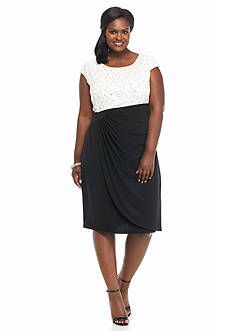Connected Apparel Plus Size Lace and Sequin Bodice Faux Wrap Dress