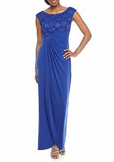 Connected Apparel Lace and Sequin Faux Wrap Gown