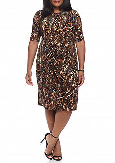 Connected Apparel Plus Size Leopard Printed Faux Wrap Dress