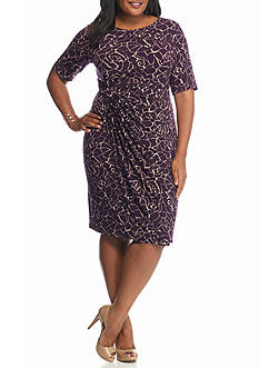 Connected Apparel Plus Size Printed Faux Wrap Dress