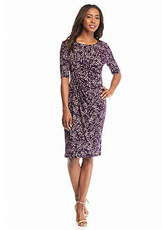 Connected Apparel Printed Faux Wrap Dress