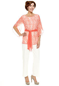 Dana Kay Split-Sleeved Two Piece Pant Set