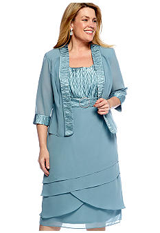 Dana Kay Plus Size Two Piece Buckle Dress with Jacket