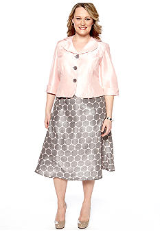 Dana Kay Plus Size Shantung Skirt Set