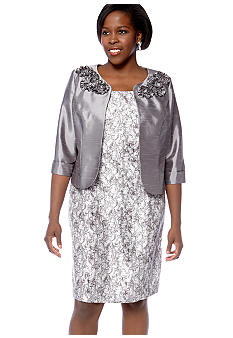 Dana Kay Plus Size Floral Accent Jacket Dress